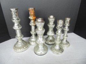 Mercury Mirror Glass Candlesticks