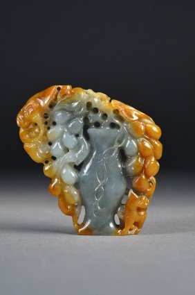 Openwork Reticulated Three Colour Jade Pendant
