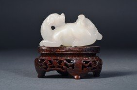 Chinese Carved White Hetian Jade Dog