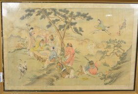 Chinese Qing Period Bu Shien Two Painting On Silk
