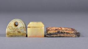Set 3 Chinese Jade Seals & Plaque