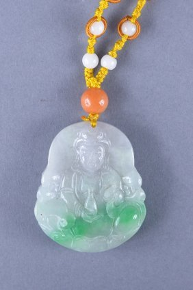 Chinese Carved Green Jade Pendant Guanyin