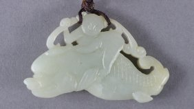 Chinese Carved White Jade Toggle