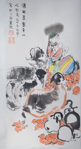 Chinese Watercolour On Paper: Migrating Woman