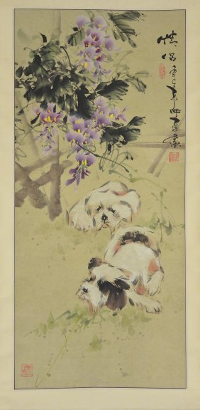 Jong Xia Chinese Watercolour Hanging Scroll