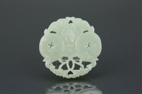 19th C. Chinese White Jade Carved Butterfly