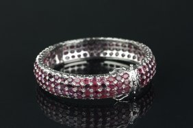 Sterling Silver Ruby 45.6ct Bangle Appraised $2200