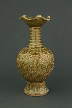 Tang/yuan Celadon Floral Incised Porcelain Vase