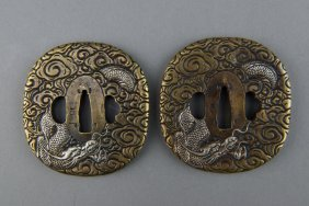 Pair Of Japanese Sword Tsuba With Dragons