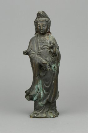 Chinese Bronze Guanyin Figure