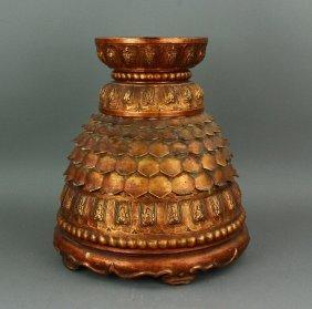 Tibetan Wood Carved Lotus Buddha Pedestal