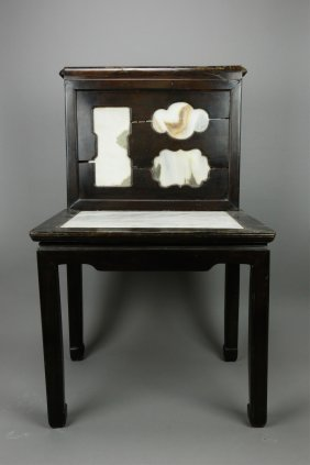 Chinese Old Rosewood Chair W/ Marble Deco