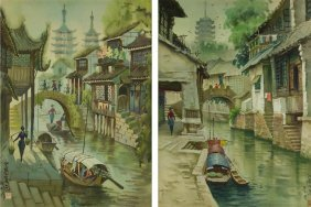 2 Pc Chinese Watercolour On Paper Framed