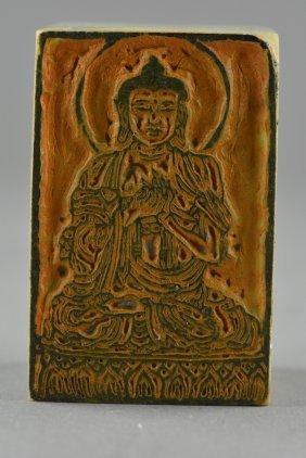 White Hard Stone Buddha Carved Seal