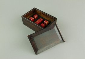 Set Of Blood Chicken Stone Carved Seal With Box