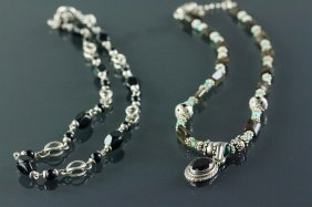Two Silver With Varieties Hardstone Necklace