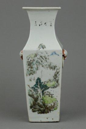 19th C. Chinese Porcelain Square Vase Mark On Base
