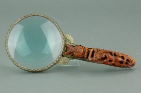 Chinese Magnifier W Wooden Handle Carved Dragon
