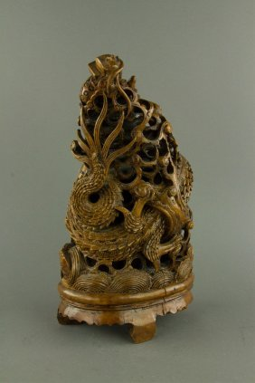 Fine Bamboo Carved Dragon Status Qing Period