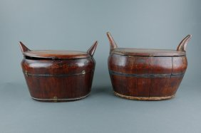 Antique Chinese Wooden Rice Containers 2pcs