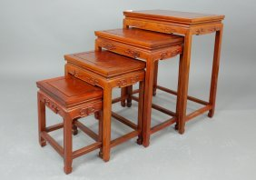 1940's Chinese 4 Rosewood Nested Tables