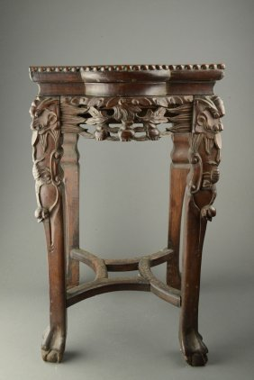Chinese Rosewood Carved End Table W Marble Inset