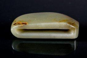 Chinese White Jade Carved Belt Hook