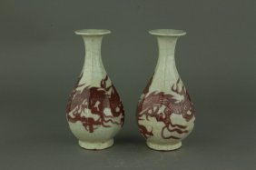 Pair Chinese Copper Red Hexagon Porcelain Vases