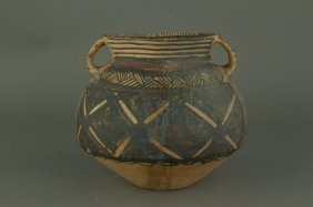 Chinese Old Neolithic Pottery Jar With Handles