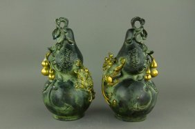 Pair Bronze Double Gourd Vases Ming Xuande Mark