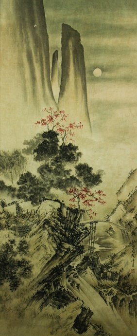 Watercolour On Paper Scroll Tao Lengyue 1895-1985