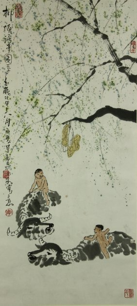 Watercolour On Paper Scroll Li Keran 1907–1989