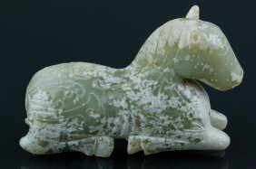 Chinese Celadon Jade Carved Archaistic Horse