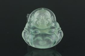 Chinese Green Jadeite Buddha Pendant