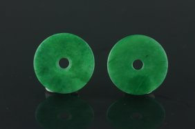 Two Pieces Of Chinese Green Jadeite Pendants