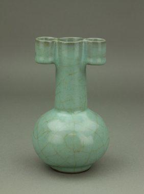 Chinese Guan Type Porcelain Vase W/ Tubular Ears