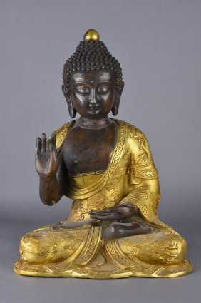 19th/20th C. Chinese Bronze Gilt Gold Buddha