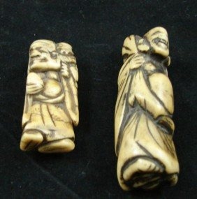 Two Chinese Carved Ivory Netsuke