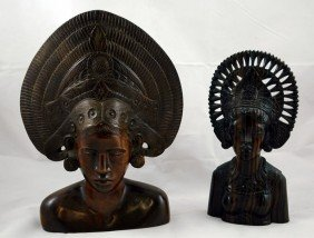Two Balinese Carved Wood Dancer Busts