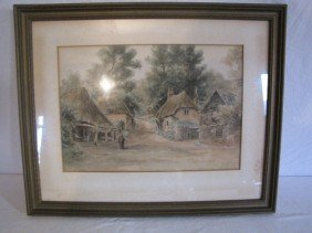 "Painting, W/C 10""x11 1/2"", Village Scene, Signed"
