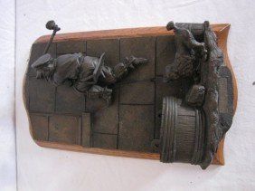 "Bronze Sculpture Match Safe, 11""x6"", W/ Label"