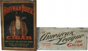 Lot Of 2 Early Tin Cigar Signs: