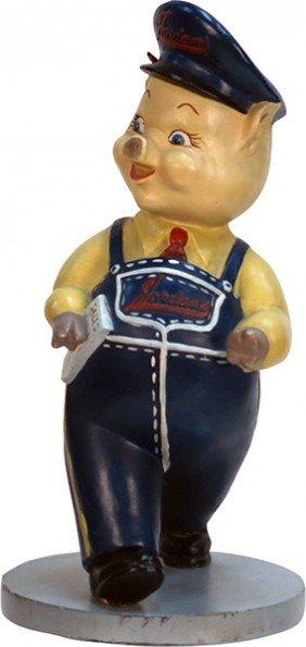 Vintage Jordan's Pig Figural Mascot Statue C1930's