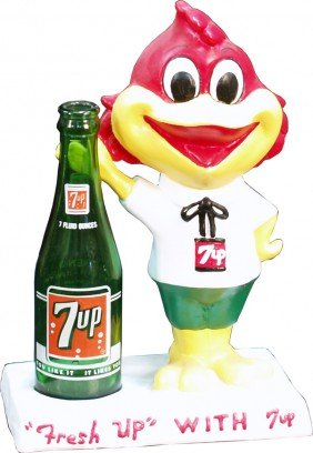 """Countertop """"Fresh Up With 7UP"""" Figural Bird Statue"""