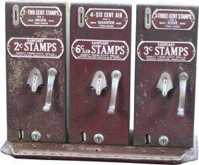 Coin-Op Vintage Sanitary Postage Stamp Triple Vend
