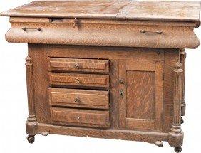 Vintage Double Sided Oak Cabinet/Work Station