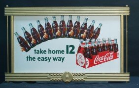 "Coca Cola ""Take Home 12 The Easy Way"" Cardboard Ad"