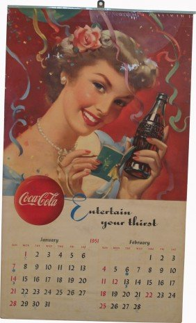 "Coca Cola ""Entertain Your Thirst"" 1951 Paper Calen"