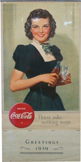 Drink Coca Cola Lithograph Paper Calendar Sign W/