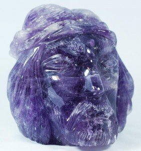BRAZILIAN CARVED SOLID AMETHYST HEAD OF CHRIST